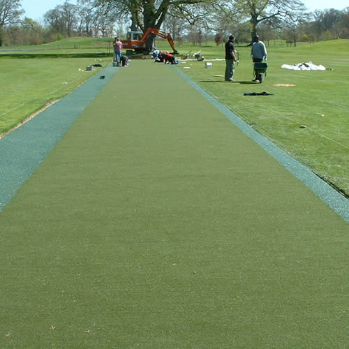 Installing a 60m Supatee-line Turf tee line at the Palmer Course, The K Club, Ireland. Ryder Cup venue 2006.
